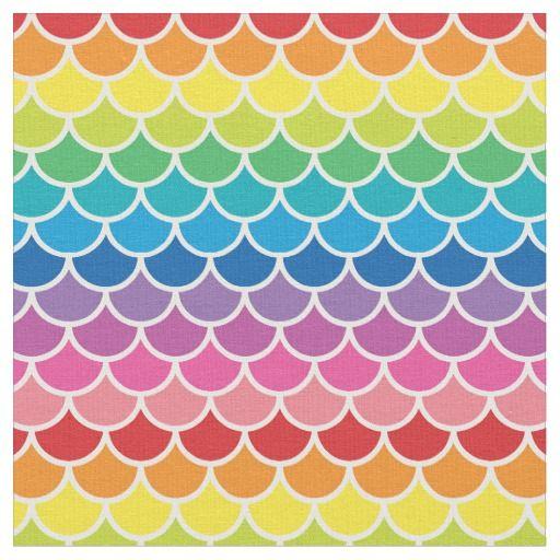 Rainbow Mermaid Fish Scales Fabric Rainbow Mermaid Rainbow