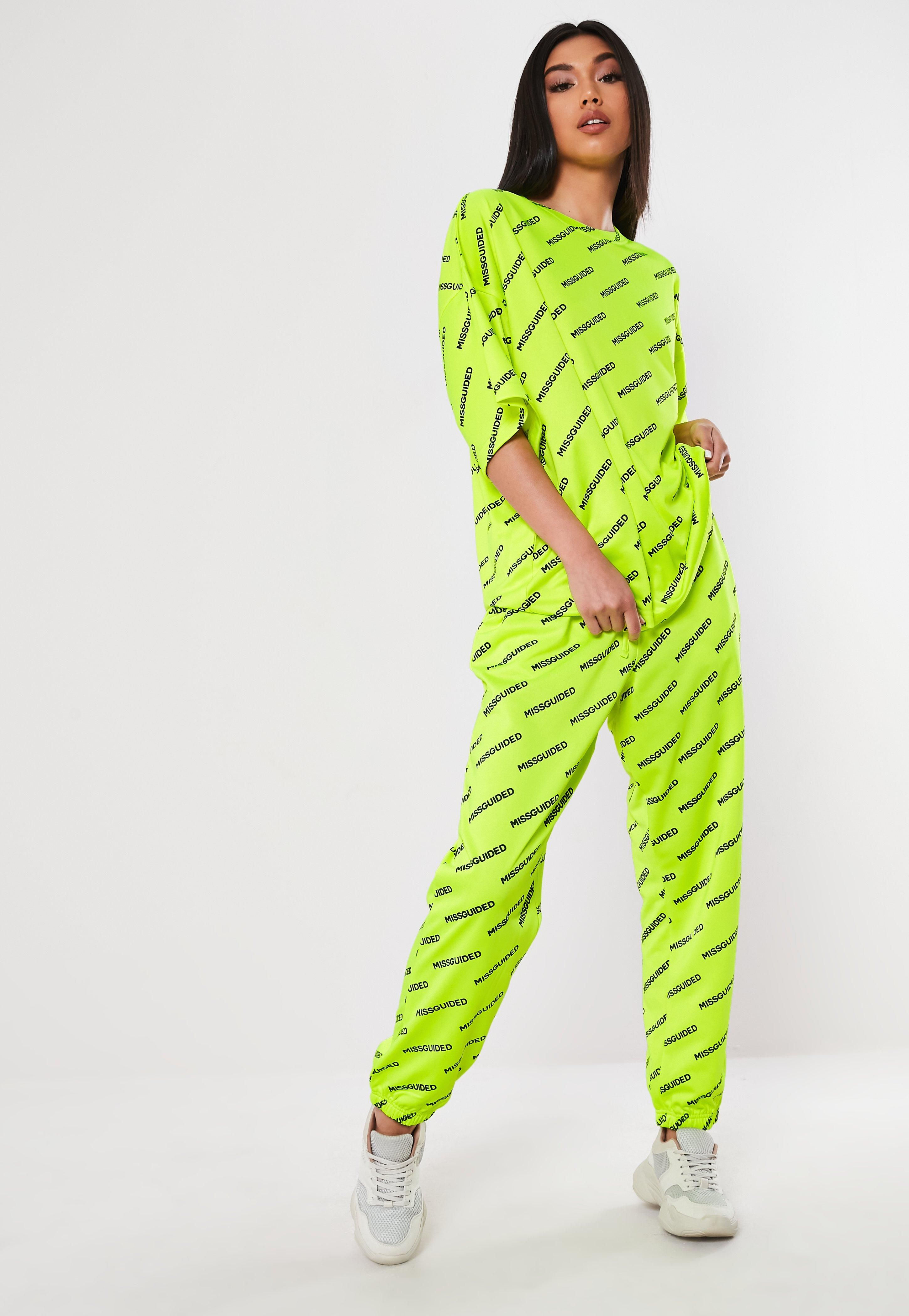 fd14be1441 Neon Green Co Ord Missguided Slogan Joggers in 2019 | Boutique ...
