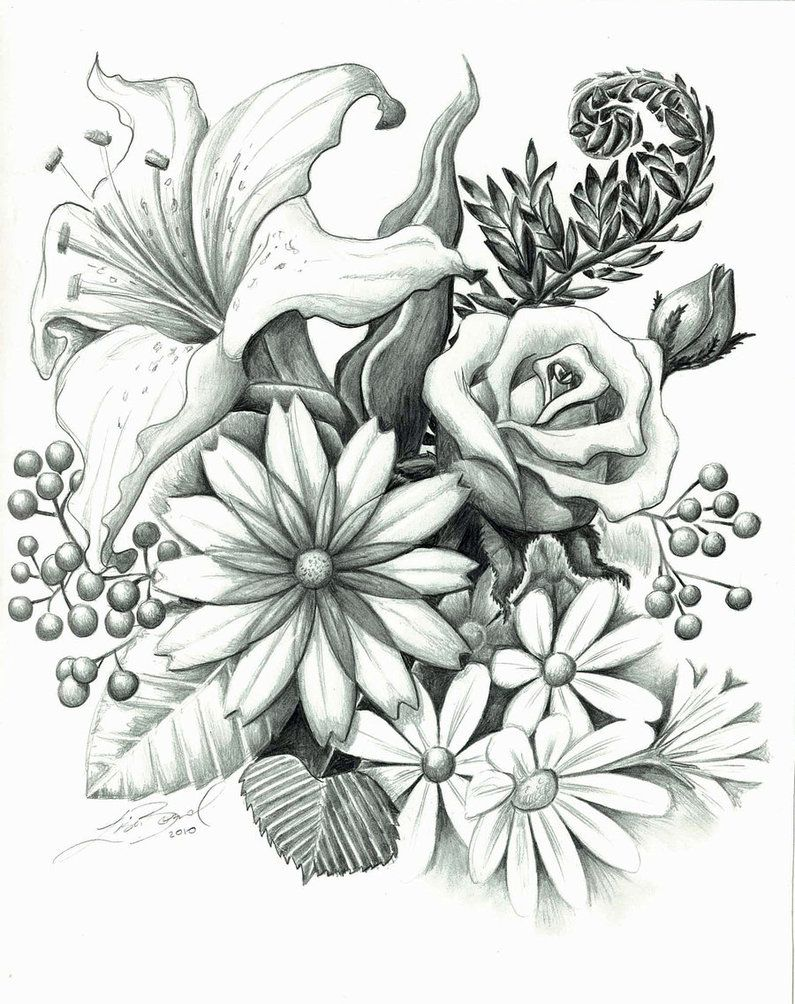 Line Drawings Of Flower Arrangements : Flower arrangement tattoos pinterest