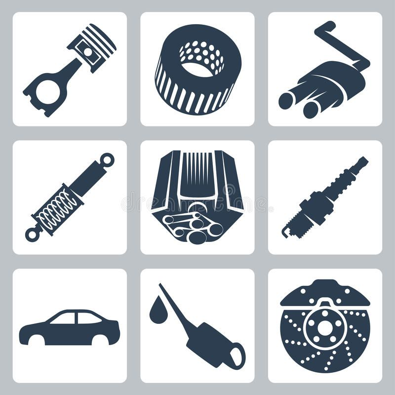 Photo About Vector Car Parts Icons Set Illustration Of Lubricating