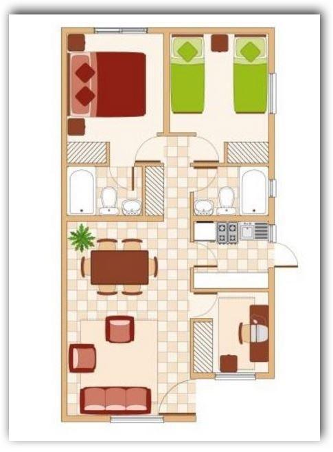 Planos y fachadas de casas bonitas y peque as de 60 metros for Departamentos pequenos planos