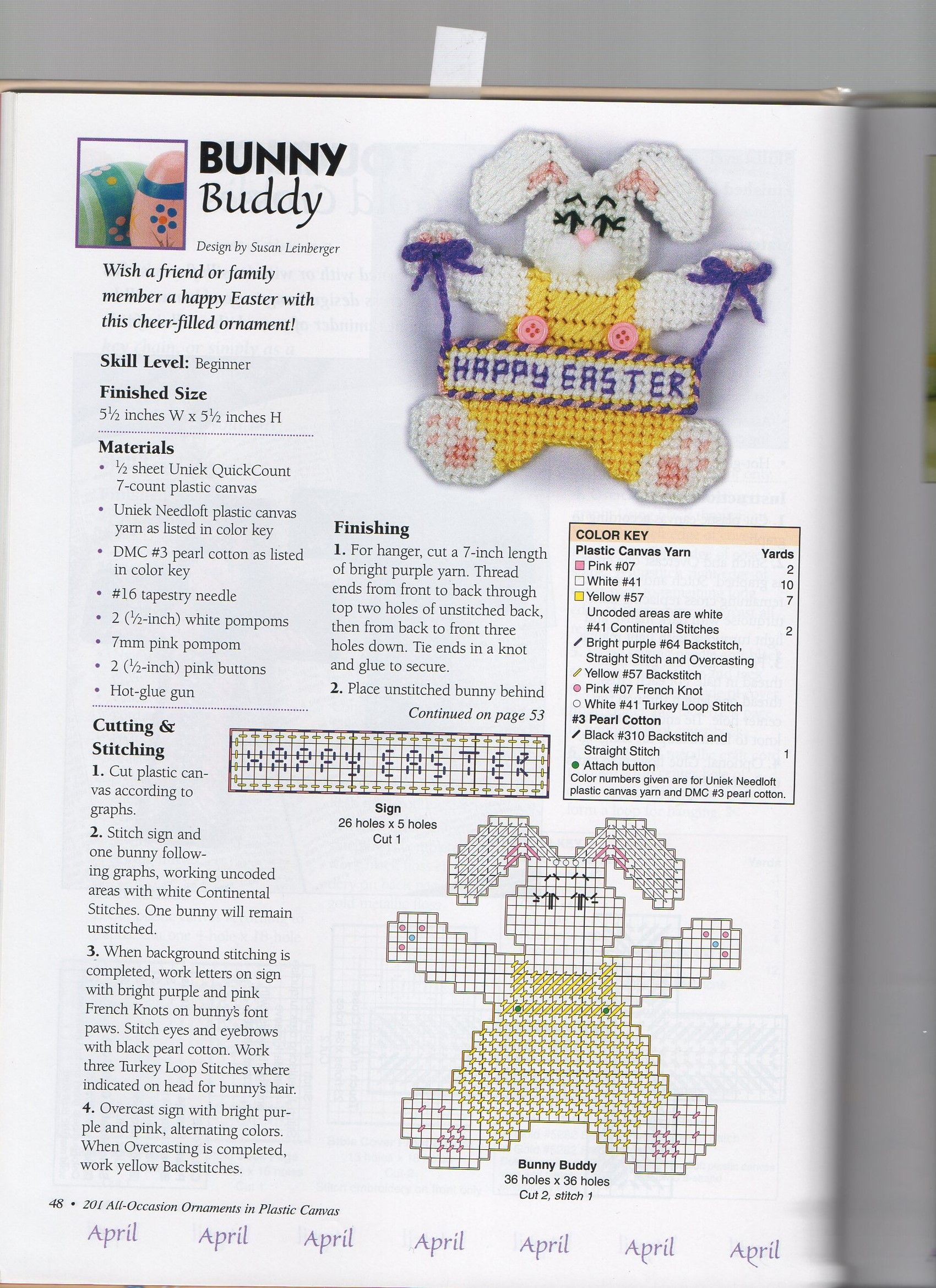 BUNNY BUDDY by SUSAN LEINBERGER 1/2- FROM 201 ALL OCCASION ORNAMENTS IN PLASTIC CANVAS