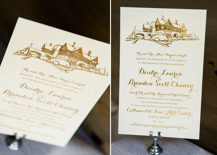 Hand Drawn venue custom invitation printed with gold foil on 220lb