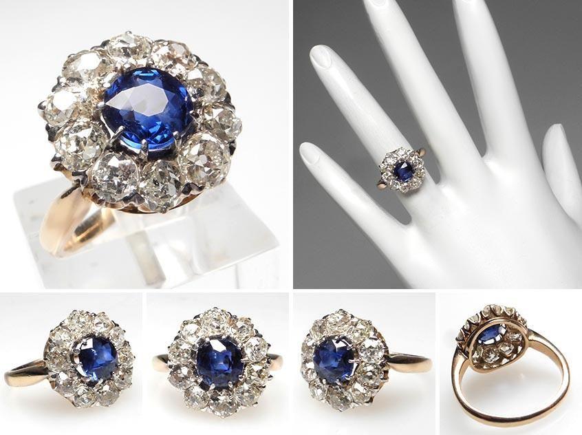 Antique Victorian Era Blue Sapphire Halo Diamond Engagement Ring