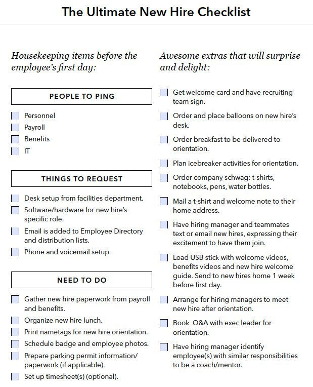 new hire onboarding checklist HR Pinterest - performance appraisal form format