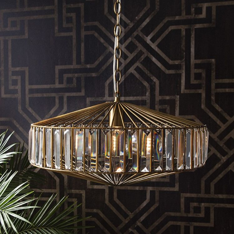 This Is A Truly Stunning Pendant Lights In Glass And Gold The Glamorous Burgh Island Ceiling Jewelled Light With Metal Cage Perfect Above Any