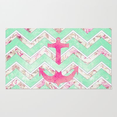 Pink Nautical Anchor Teal Floral Chevron Pattern Area & Throw Rug by Girly Trend - $28.00 From Society6