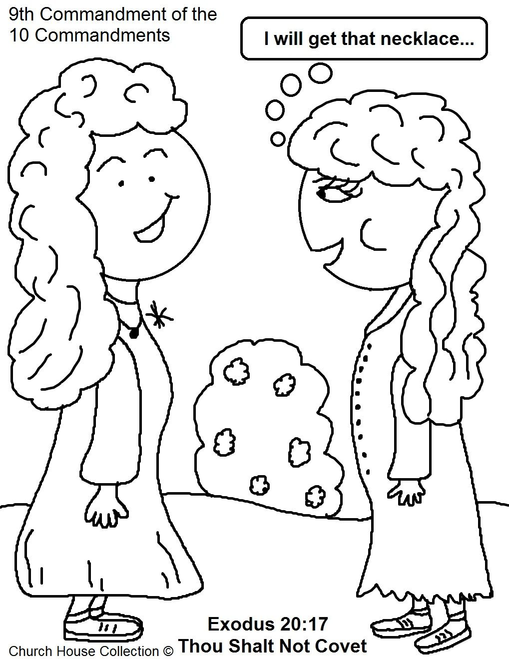 Thou Shalt Not Covet Coloring Page For Ten Commandments Kids