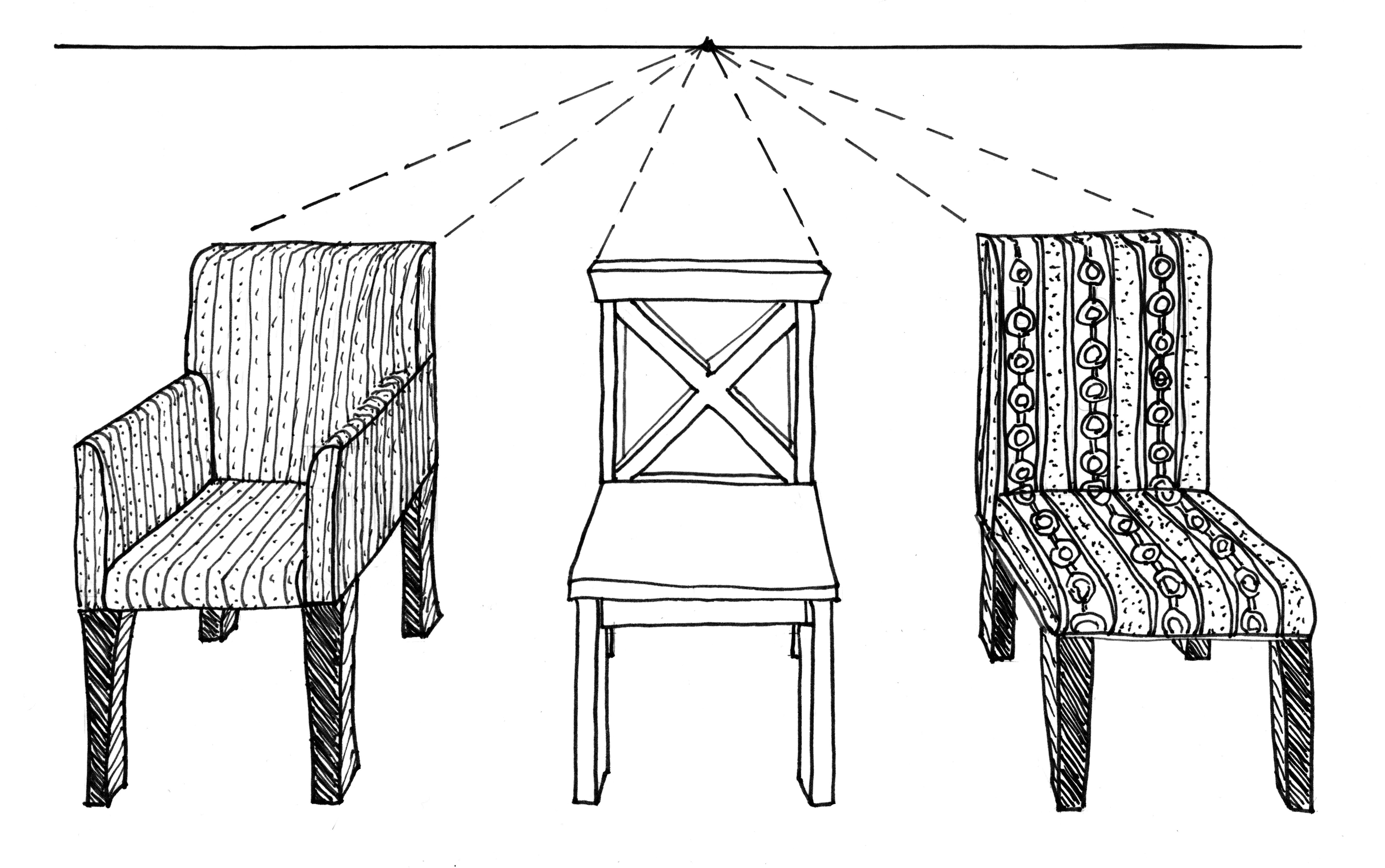 6 Chairs 3 Jpg 5703 3576 Drawing Furniture One Point Perspective Point Perspective