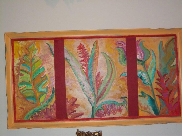 Tropical Triptych Painting Art Triptych
