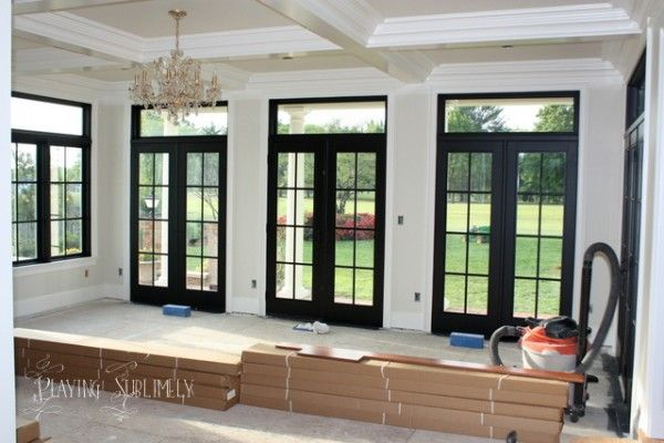 Painted black french doors transoms architectural for Black french doors exterior