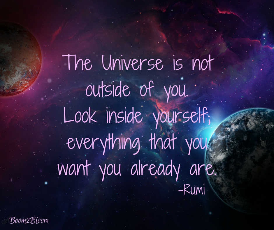 The Universe Is Not Outside Of You Look Inside Yourself Everything That You Want You Already Are Rumi Quote In Positive Outlook Quotes Rumi Quotes Universe