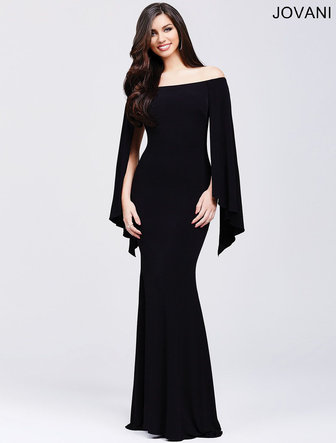 Stunning off the shoulder form fitting dress features hanging ...