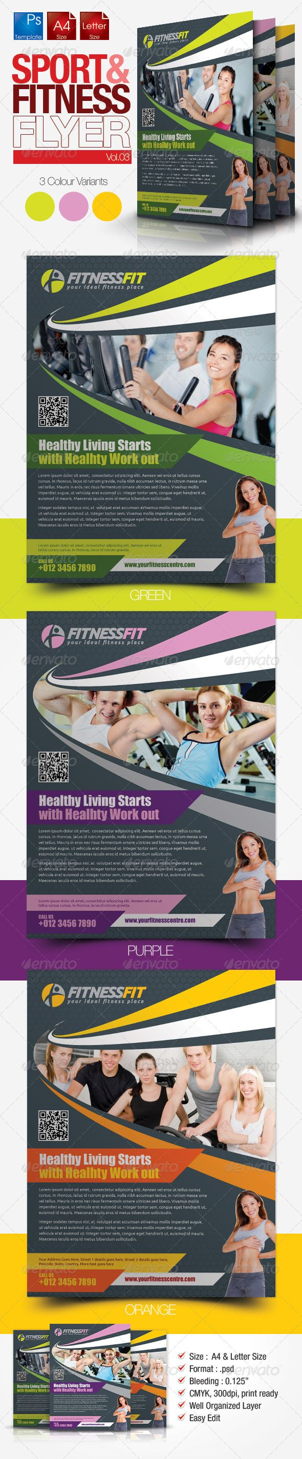 Fitness Flyer Vol  Fonts Print Templates And Flyer Printing