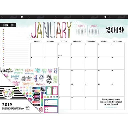 2019 The Happy Planner 22 H X 17 W Desk Calendar Pdc 01 The