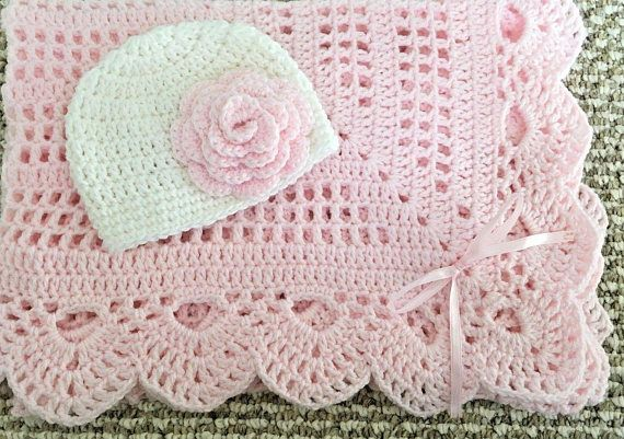 Handmade Crocheted Baby Shower Newborn Gift Baby Blanket With