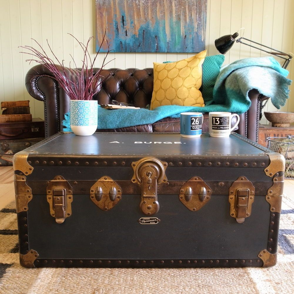 VINTAGE Mid Century TRAVEL School CABIN Steamer TRUNK