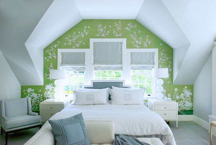 Shea Mcgee Design Bedrooms Attic Bedroom Blue And Green Bedroom Wallpaper Accent Wall Modern Bedroom Interior Interior Design Bedroom Beautiful Bedrooms