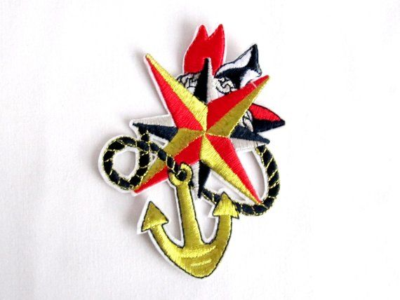 Anchor İron on patch lurex nautical applique gold anchor patches
