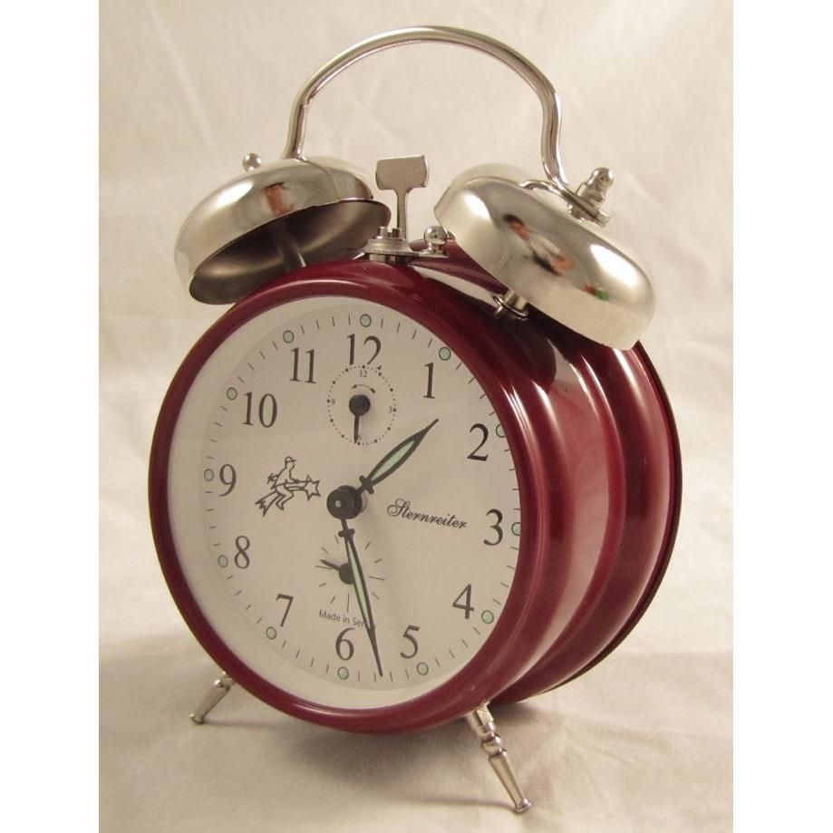 Old Fashioned Wind Up Alarm Clock With Double Bells Red