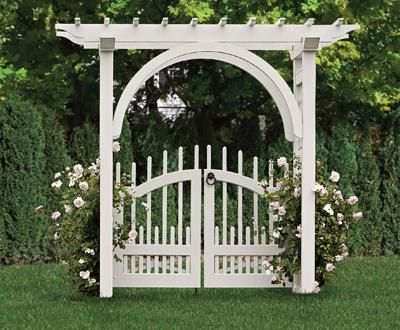 Arched Arbor With A Westchester Double Gate Wood Arbors