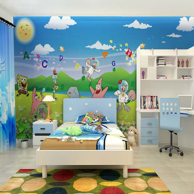 wall murals for baby sponge kids room photo mural spongebob tags ...