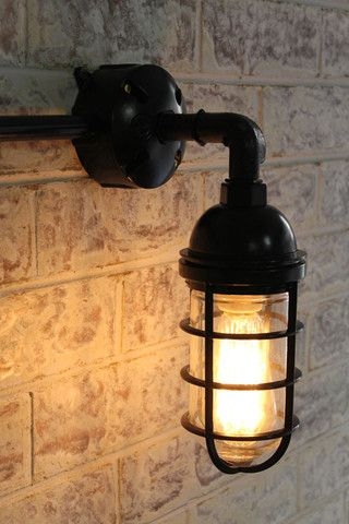 Bunker Cage Wall Light Globe Lights Wall Mount And Globe Simple Basement Lighting Design Exterior