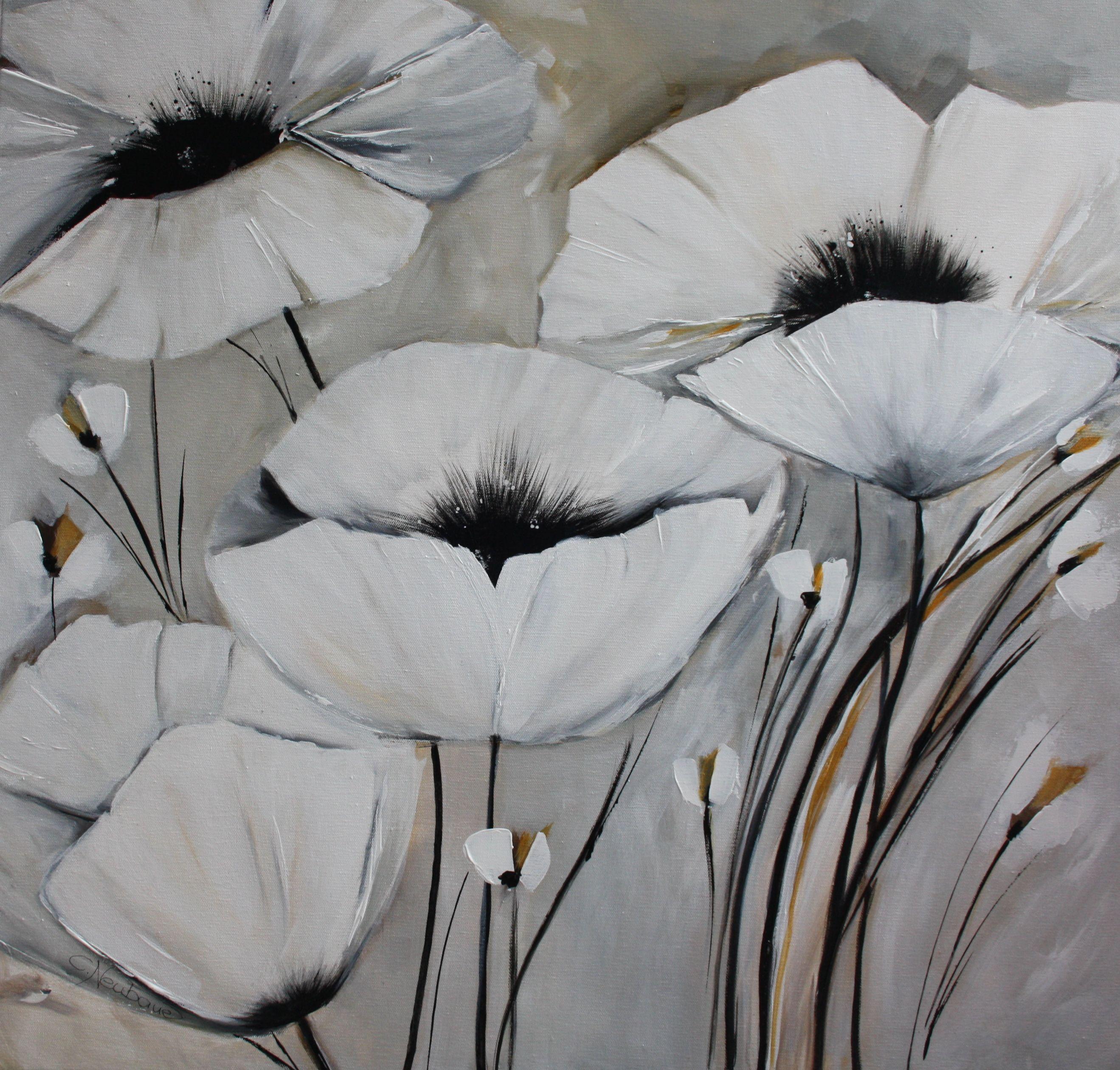 Weisser Mohn In Acryl 80x80 Cm Bunte Zeichnungen Kunst Ideen Kunstwerke