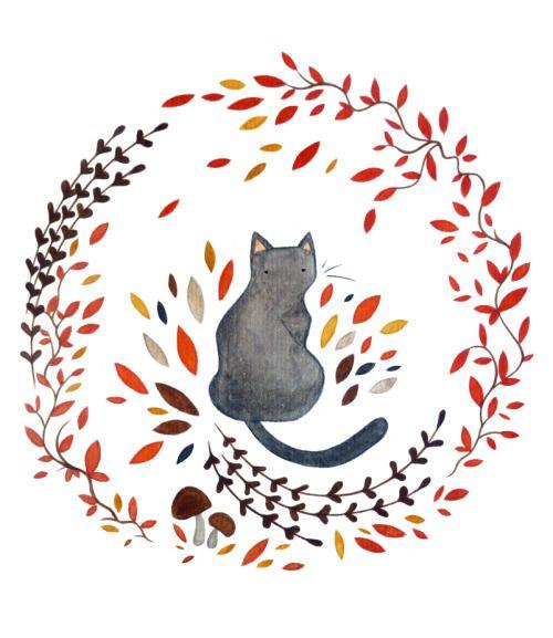 """Cat Illustration Tumblr crisp-season: """" Autu..."""