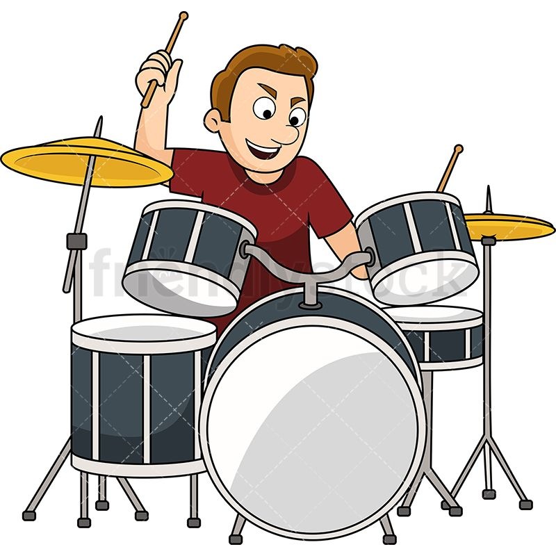 Male Drums Player Cartoon Vector Clipart Friendlystock Drums Cartoon Drum Lessons For Kids Music Illustration