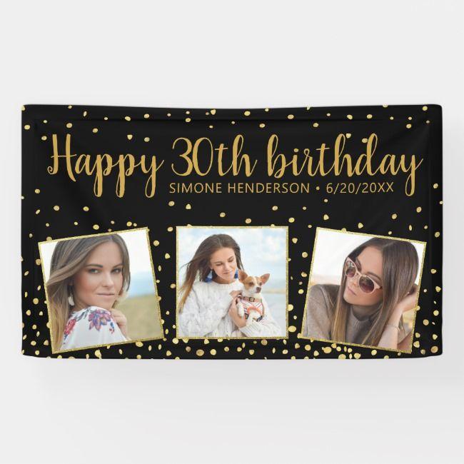 Happy Birthday Gold Glitter Photos Any Year Custom Banner |  Happy Birthday Gold Glitter Photos Any Year Custom Banner