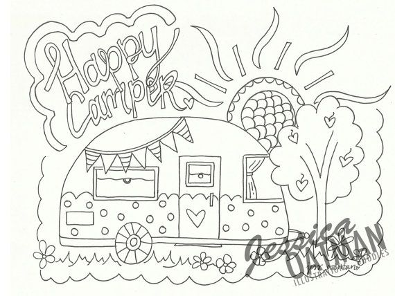 Camper Coloring Page Coloring Pages Vintage By Jessicaoatmanart
