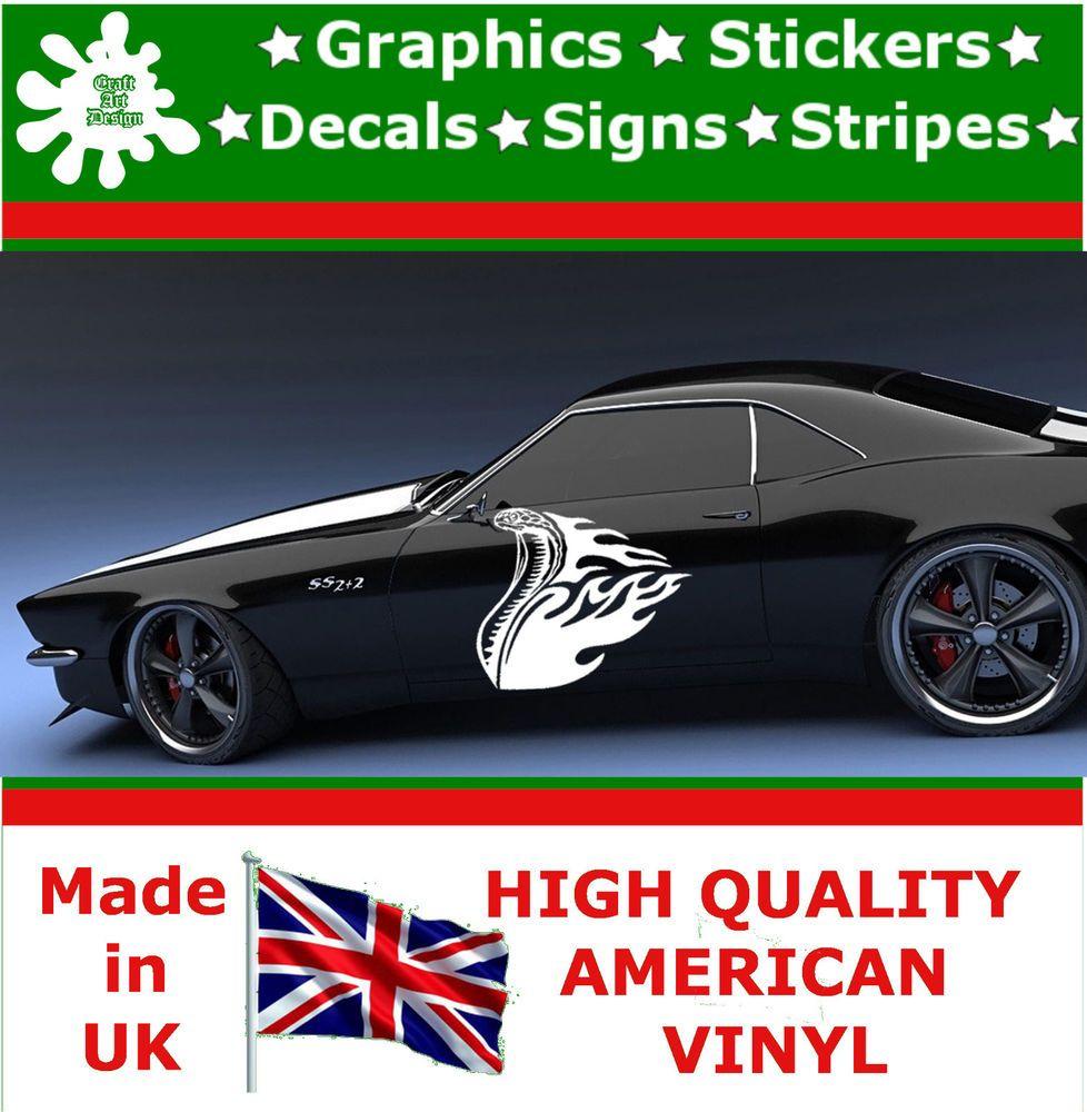 Car sticker design fire - 2 X Large Car Side Mustang Cobra Flame Graphics 4x4 Decal Vinyl Stickers Van 88