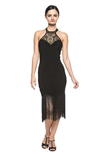 Women High Neck Lace Black Fringe 20s Flapper Dance Evening Cocktail Party Dress