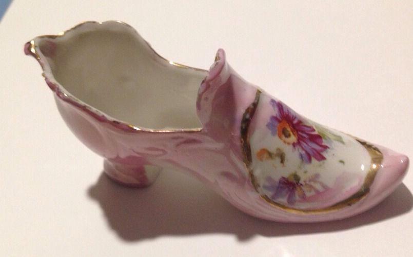 VTG Miniature Ceramic High Heel Victorian Pointed Toe Shoe Slipper Handmade Pink