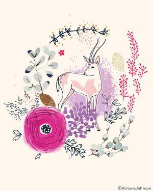 deer, enchanted forest, art, design, illustration, watercolour