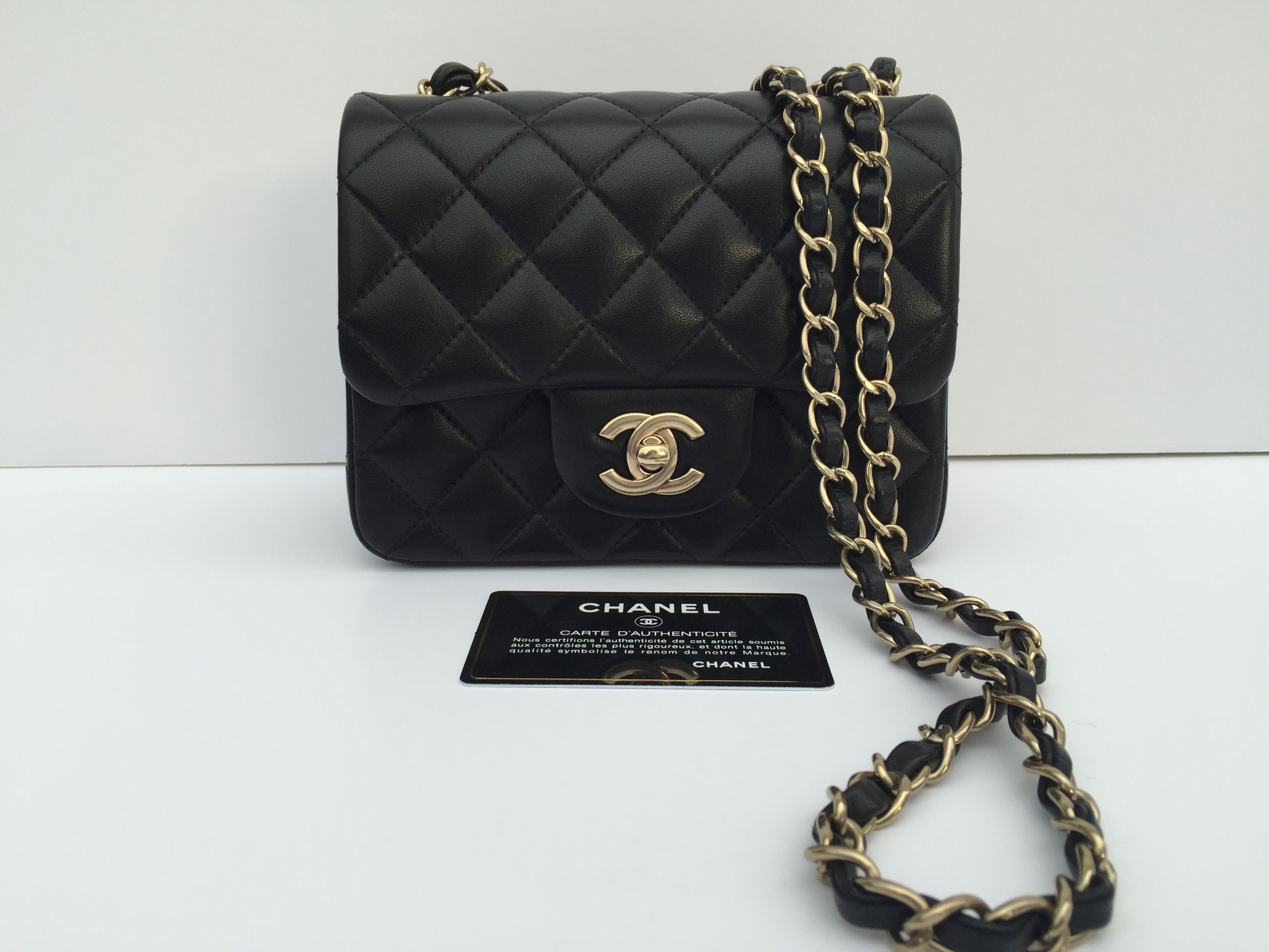 dff6de94d724 Chanel Mini Square in Quilted Black Lambskin with Light Gold Hardware. The  color light gold of the hardware is perfect to match your bag with gold or  silver ...