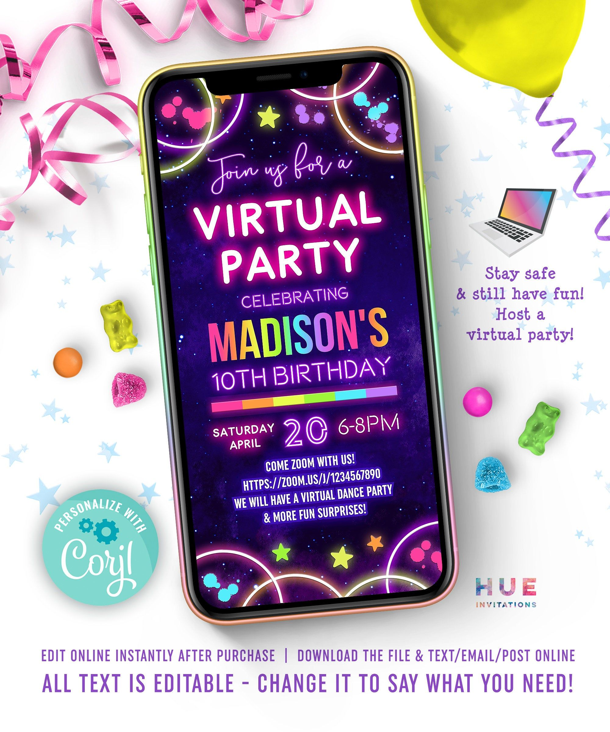Glow Virtual Party Invitation Zoom Party Video Chat Girls Etsy In 2020 Virtual Party Dance Party Invitations Party Invitations