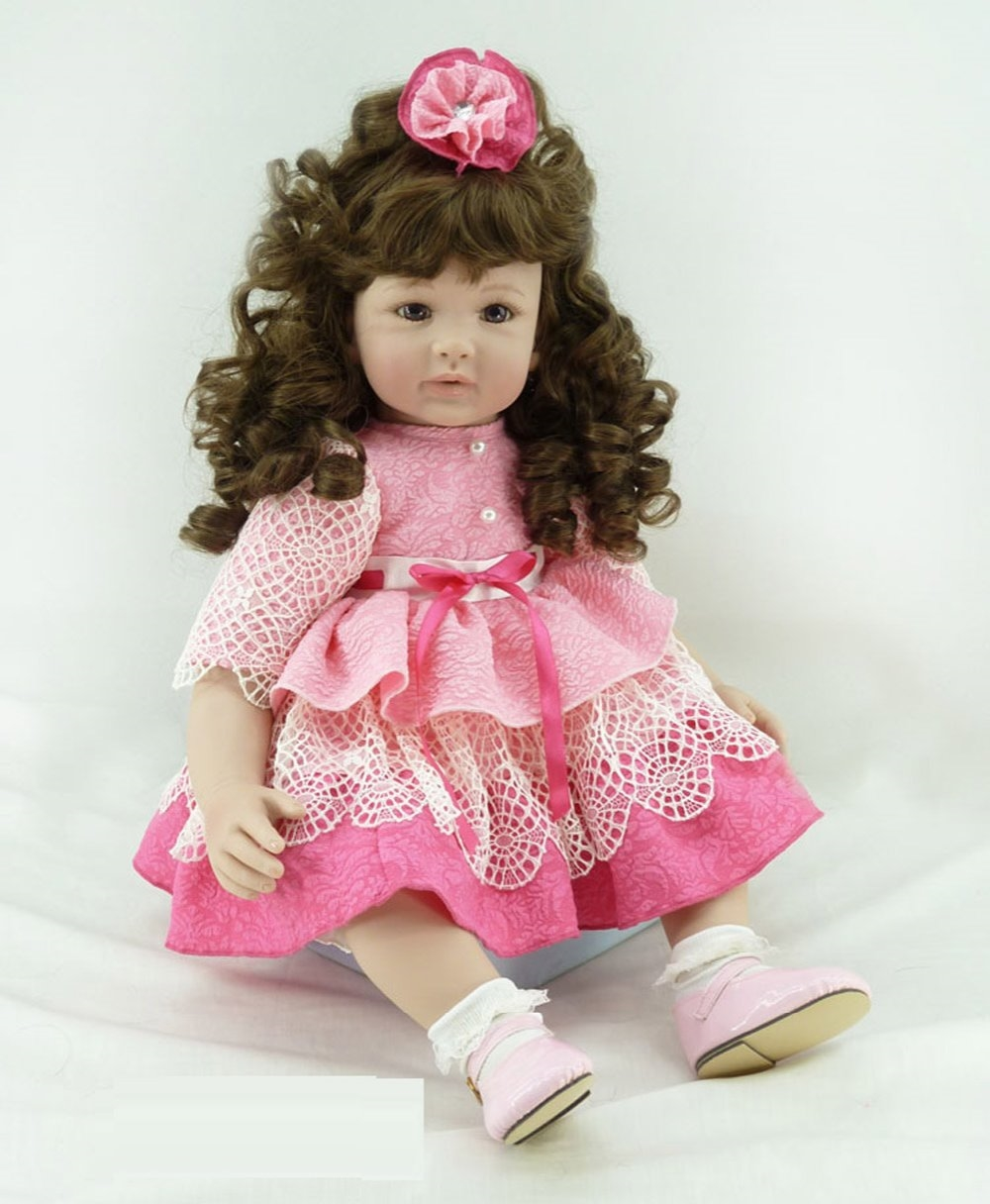103.99$  Buy now - http://alir4e.worldwells.pw/go.php?t=32621136373 - 22 inch 55 cm Silicone baby reborn dolls, lifelike doll reborn babies toys Pretty girl with curly hair