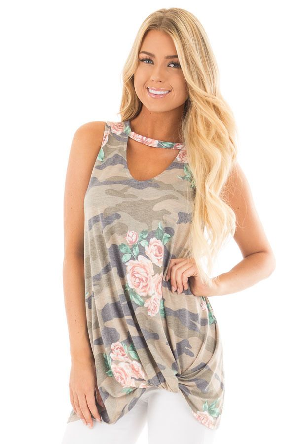 2110aae872328 Floral Camo Tank Top with Twisted Front and Keyhole Neckline ...