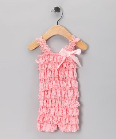 c1dce664c012 Take a look at this Peach Vintage Lace Ruffle Romper - Infant   Toddler by  Diva Daze  Accessories on  zulily today!