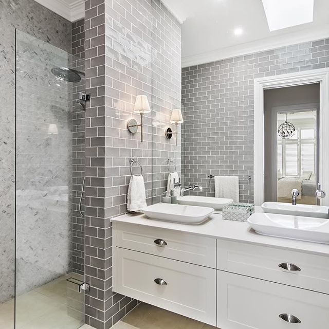 Modern Bathroom Feature Tiles : Today s house photo is my hamptons inspired ensuite you