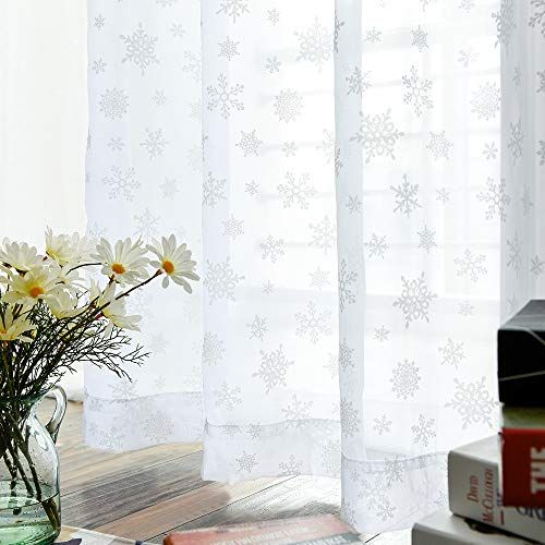 2 Panel 95 Inch Long White Sheer Curtains With Snowflake