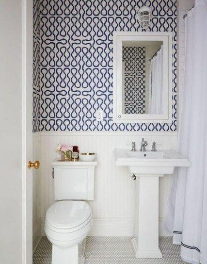 Carta da parati per il bagno - Carta da parati bianca e blu | Carta ...
