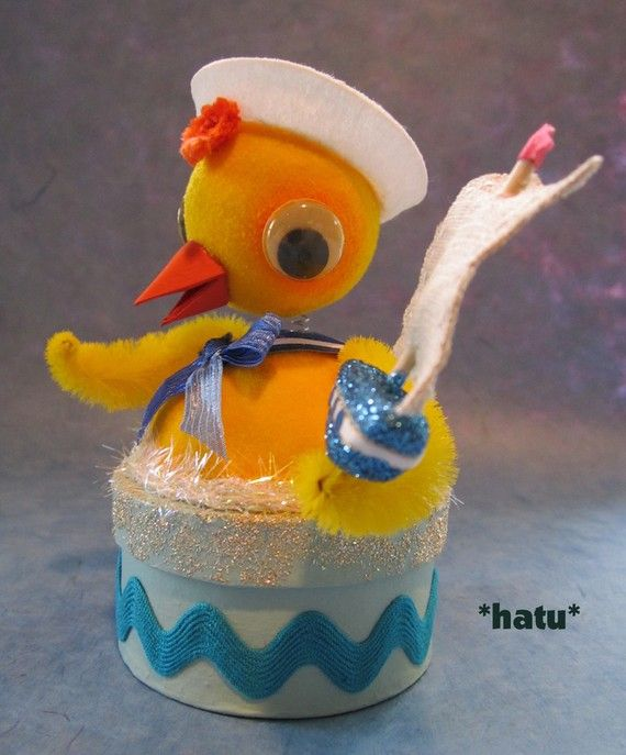 Vintage Style Flocked Sailor Nodder Chick Candy Container by hatu, $26.00