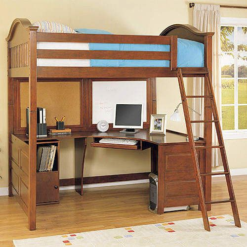 Full Size Loft Bed With Desk On Pinterest Girls Bedroom