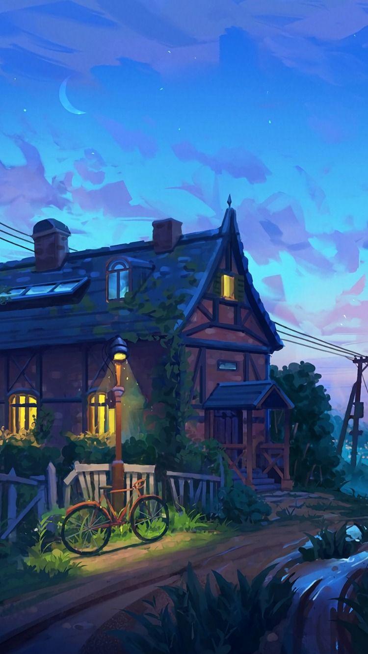 House, evening, bike, art, river, clouds wallpaper