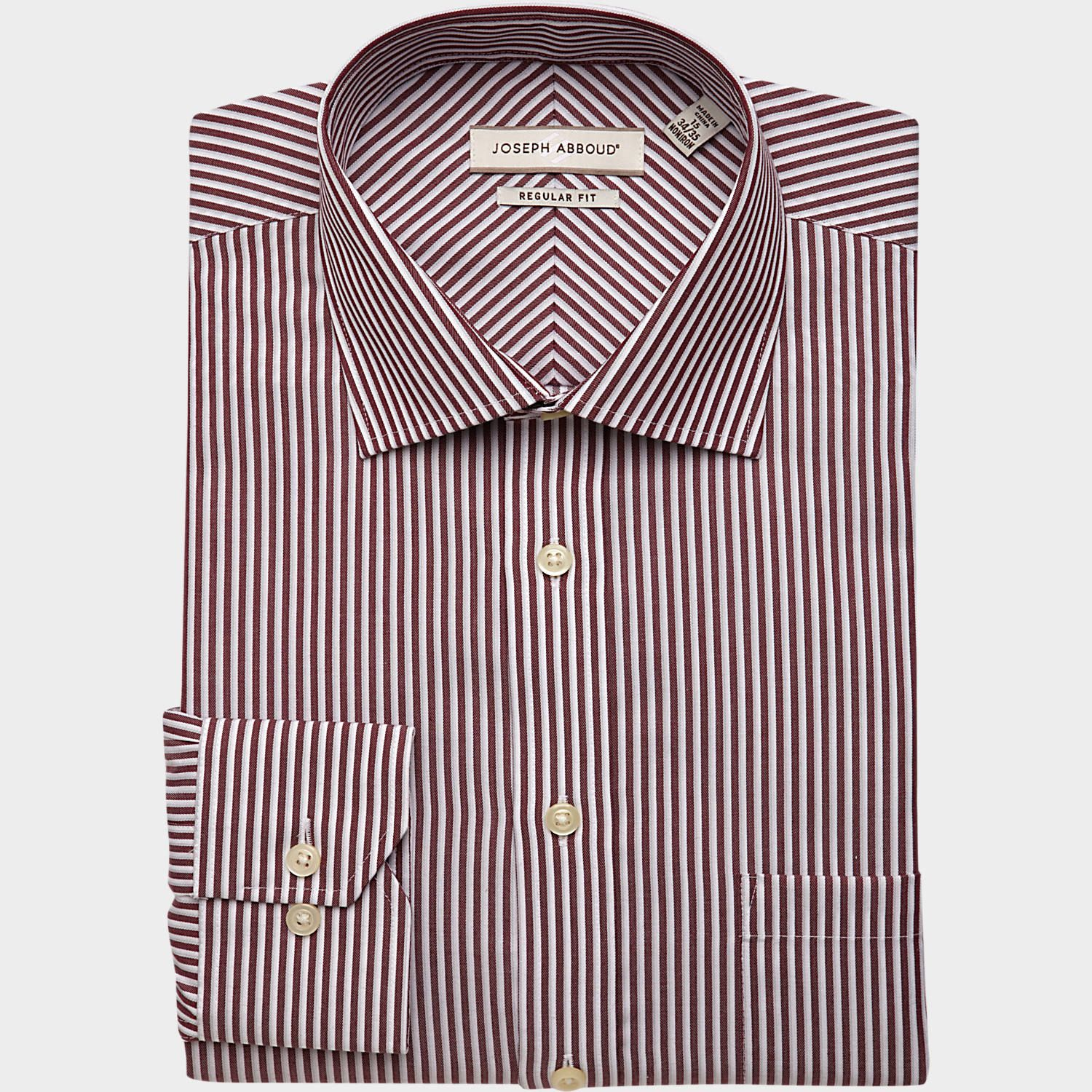 Joseph Abboud Burgundy Stripe Classic Fit Dress Shirt Classic