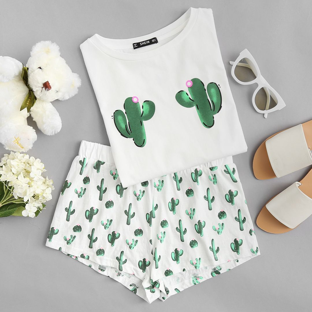 Cactus Print Tee And Shorts Pajama Set in 2019  7fad3064b