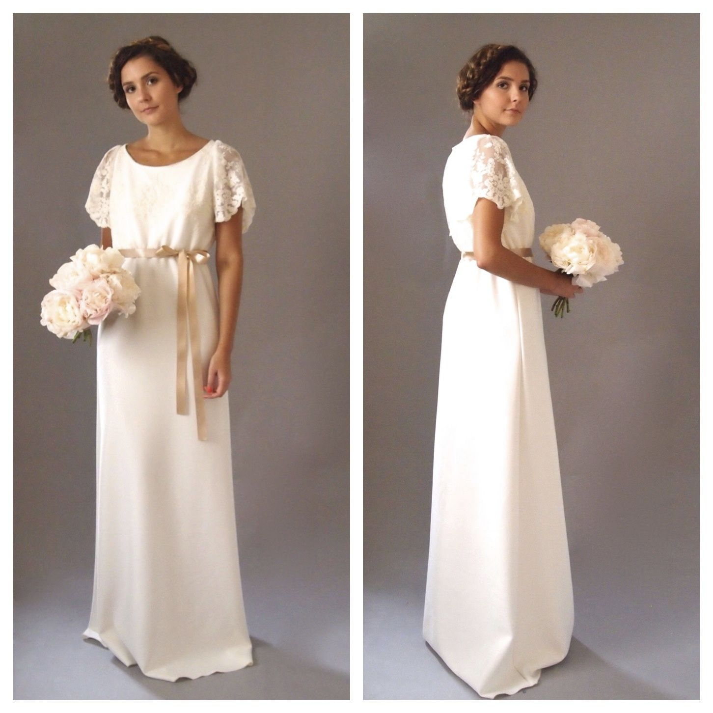 Bohemian bridal gowns bridesmaid dresses simple relaxed poppy bohemian bridal wedding dress with gypsy lace sleeves bridal gown guipiere lace and ivory chiffon ombrellifo Images